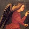 Benedetto Carpaccio (ante 1500-post 1560). Angelo annunciante e Vergine annunciata, particolare dell'angelo. Olio su tela. Ca' Rezzonico.