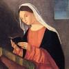 Benedetto Carpaccio (ante 1500-post 1560). Angelo annunciante e Vergine annunciata, particolare della Vergine. Olio su tela. Ca' Rezzonico.