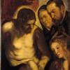 Jacopo Robusti detto il Tintoretto (1518-1594). Cristo deposto sostenuto da San Giovanni e dalla Maddalena alla presenza di due committenti. Olio su tela. Ca' Rezzonico.